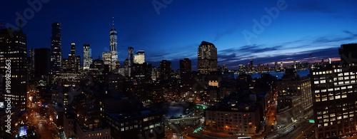 Skyline view of Manhattan & Jersey City at night in New York City. - 198982663