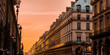 Sunset in Paris, street with its building in corridor