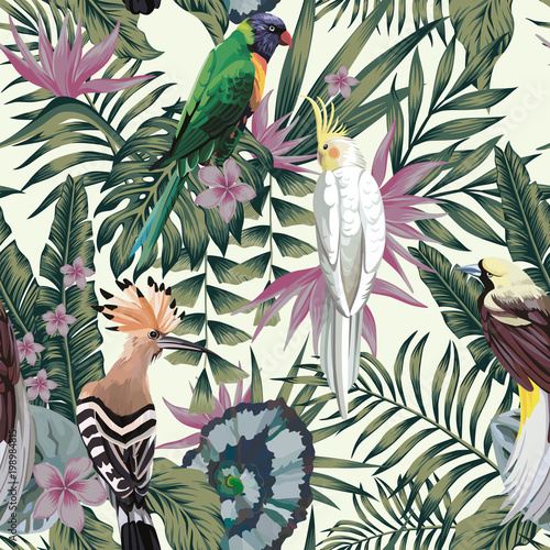 Cotton fabric Tropical birds plants leaves flowers abstract color seamless background