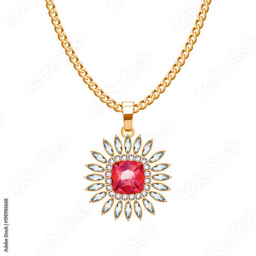 Złoty łańcuszek z wisiorkiem z rubinowym kamieniem.