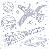 Vector icons satellite, space rocket and planets