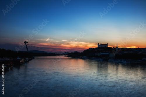 Twilight Evening at Danube River in Bratislava