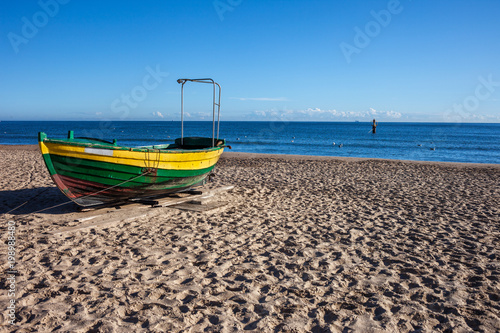Boat on a Sandy Beach at Baltic Sea in Poland