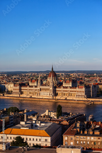 Hungarian Parliament in Budapest City At Sunset