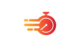 Illustration of the symbol vector of fast service with a flaming clock symbolizes speed and agility in the business concept - 198988867