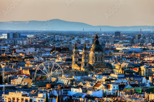 View Over Budapest City At Sunset