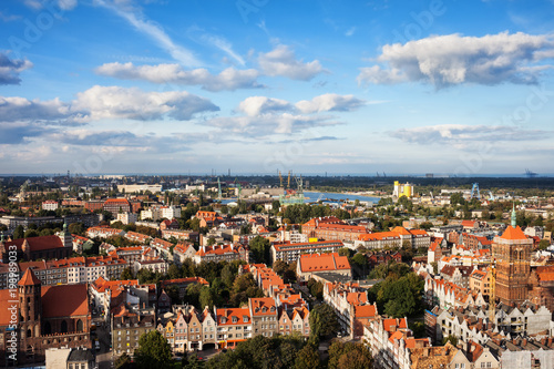 Old Town Of Gdansk City Aerial View