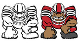 Football Player 3 Point Stance Cartoon Vector Illustration