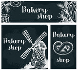 Bakery products on the chalkboard
