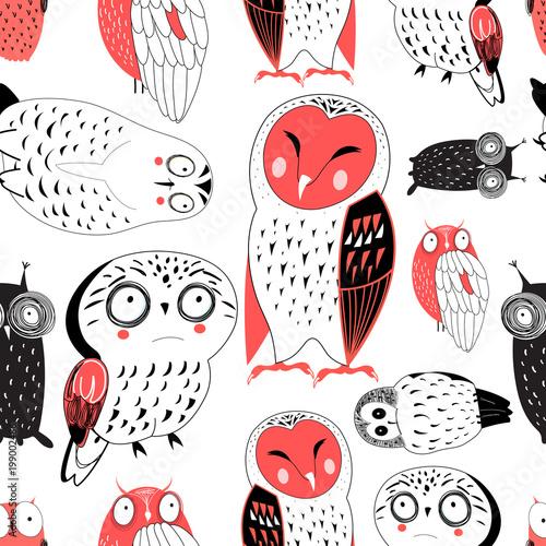 Keuken foto achterwand Uilen cartoon Vector seamless graphic pattern of funny owls
