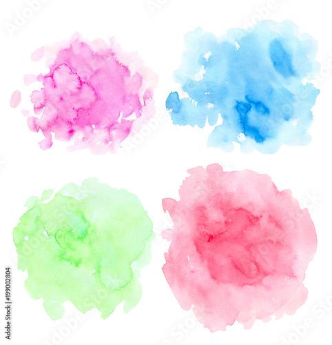 Set of abstract bright watercolor blots
