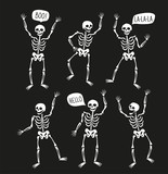 Funny skeletons in different poses with speech bubbles. Vector elements for halloween design. - 199003635