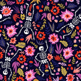 Dancing skeletons in the floral garden. Vector holiday illustration for Day of the dead or Halloween. Funny fabric design. - 199003879