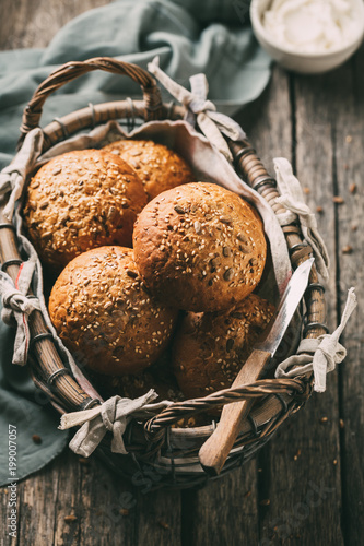 Buns for sandwiches on a rustic wooden background