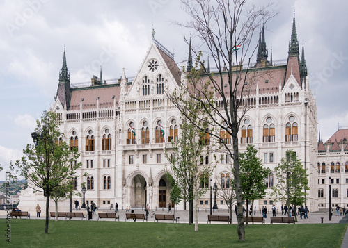 Fotobehang Boedapest Historical Gothic building of Budapest, Government symbol, Square beside Budapest Parliament, Parliament in Budapest symbol