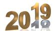 Leinwanddruck Bild - Jahreswechsel 3D Grafik - 2019 auf 2018 in Gold und Silber, gespiegelt vor weißem Hintergrund