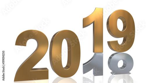 Leinwanddruck Bild Jahreswechsel 3D Grafik - 2019 auf 2018 in Gold und Silber, gespiegelt vor weißem Hintergrund
