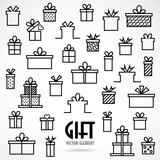 Set line icon with Gifts box, vector illustration