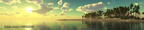 panorama of a sea sunset over a tropical beach with palm trees, 3D rendering