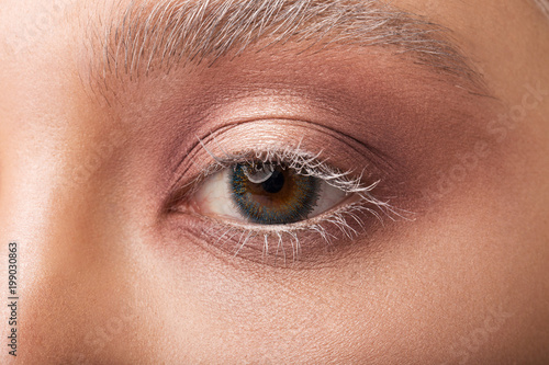 Human eye close-up with contact lenses. Nanotechnology of the future - 199030863