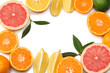 healthy food. mix sliced lemon, green lime, orange, mandarin and grapefruit with green leaf isolated on white background. top view with copy space