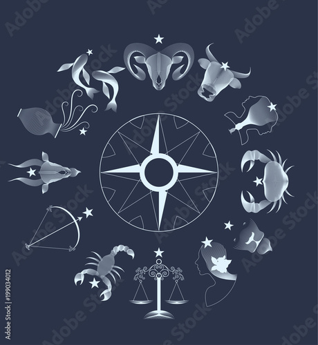 Zodiac signs circle over dark sky © LaInspiratriz
