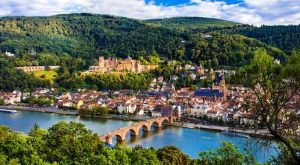 Landmarks of Germany - beautiful Heidelberg town with impressive castle and bridge