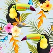 Toucans and flowers - 199037482