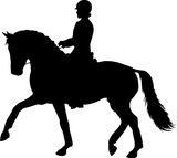 A silhouette of a dressage rider on a horse. - 199042211