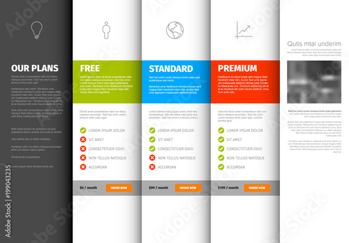 product service pricing comparison table template buy photos