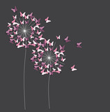 Abstract Paper Cut Out Butterfly Flower Background. Vector Illustration - 199044217