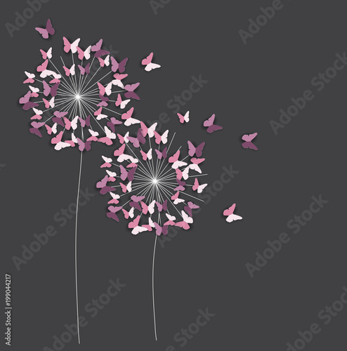 Fototapeta Abstract Paper Cut Out Butterfly Flower Background. Vector Illustration