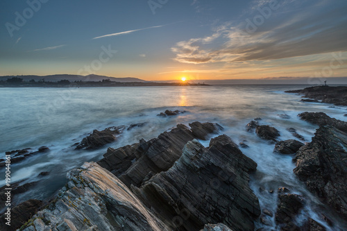 Foto op Canvas Zee zonsondergang spectacular landscapes, day and night, in lands of Galicia, spain