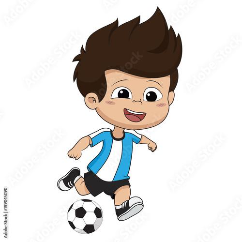 kid kicks a ball. - 199045090