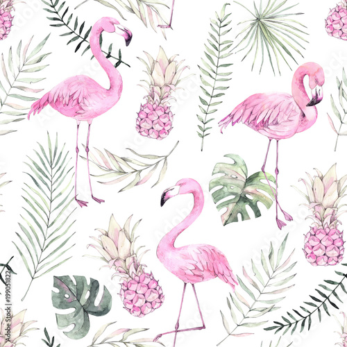 Hand drawn watercolor seamless pattern. Background with pink flamingo, pineapple and tropical leaves. Perfect for wrapping paper, fabric, linens, invitations, greeting cards, prints - 199051822