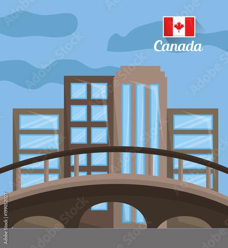 city skyline with landmarks montreal canada vector illustration - 199052027