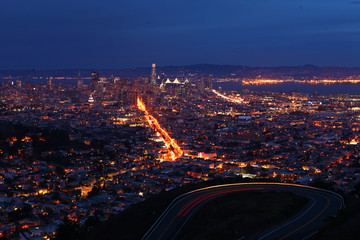 Wide night view of San Francisco city center