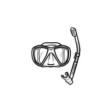 Mask And Snorkel For Swim In Pool Hand Drawn Outline Doodle Icon Summer Holiday Equipment For Swim In Pool  Sketch Illustration For Print Mobile And Infographics    Sticker