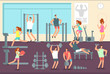 Woman and man doing various sports exercises in gym. Fitness indoor workout vector concept
