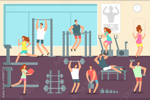 Aluminium Fitness Woman and man doing various sports exercises in gym. Fitness indoor workout vector concept