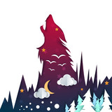 Cartoon night landscape. Wolf illustration. Vector eps 10