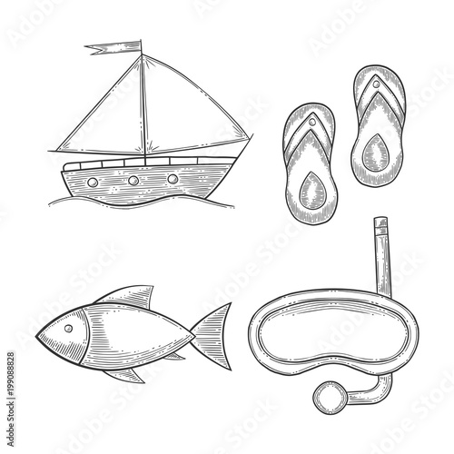 Fototapeta Vacation set, sail boat and diving mask, fish and flip flops. Hand drawn vector in engraving and sketch style. Isolated on white background