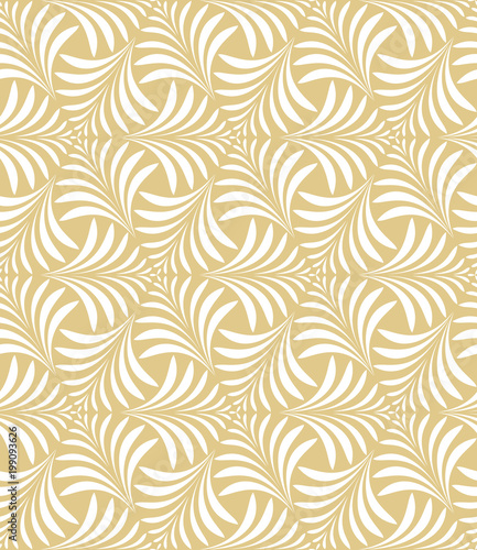 Flower geometric pattern. Seamless vector background. White and gold ornament - 199093626