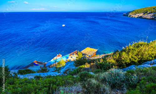 Foto op Plexiglas Donkerblauw Beautiful view of the the stairs to the sea at the blue caves on the island Zakynthos