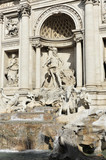 Ozean-Statue auf einem muschelförmigen Wagen, gezogen von zwei Seepferdchen, von Pietro Bracci, 1759 - 1762, Detail des Fontana di Trevi, Trevi-Brunnen, Rom, Italien, Europa