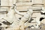 Pferd mit Triton, Skulptur, Detail, Trevi-Brunnen, Fontana di Trevi, Rom, Region Lazio, Italien, Europa