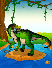 Baryonyx on the background of a waterfall.