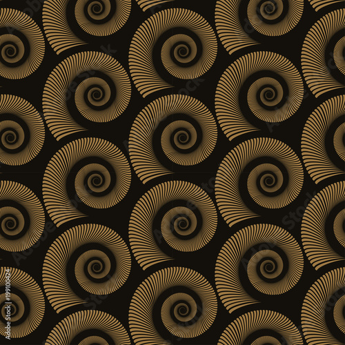 graphic snails seamless pattern in gold shades