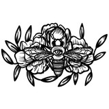 Witchcraft. bee with eye. occult bee, magic crystal and flowers peonies. linear tattoo print illustration. - 199101604