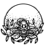 Witchcraft. bee with eye. occult bee, magic crystal and flowers peonies. linear tattoo print illustration. - 199101616